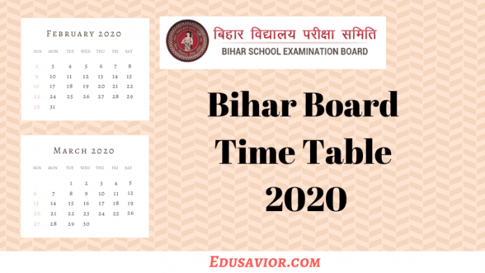 Bihar Board Time Table 2020 for 10th & 12th Class