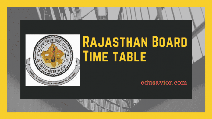 Rajasthan Board Time table 2020